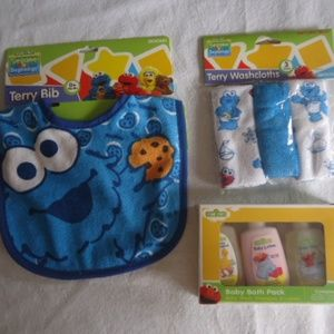 Sesame Street Cookie Monster Baby Gifts Lot Of 3